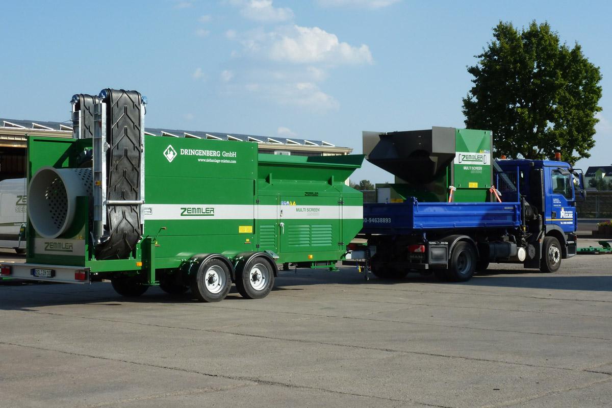Zemmler Multi Screen MS 3200 wird von einem 12,5 t LKW gezogen